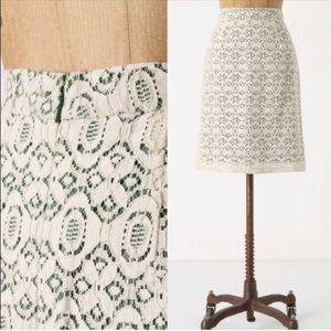 Edme & Esyllte Cream Green Lace Skirt